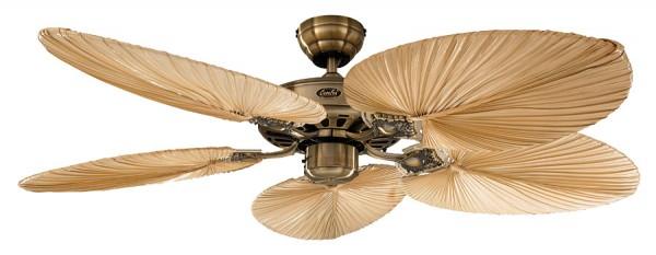 CasaFan Deckenventilator CLASSIC ROYAL 132 MA - Gehäuse Messing antik - 5 Flügel Palme natur - Ø 132 cm
