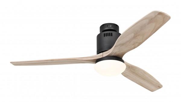 CasaFan Deckenventilator Aerodynamix Eco BG - Basaltgrau - 3 Flügel Holz natur - mit Leuchte - mit Fernbedienung - energiesparend