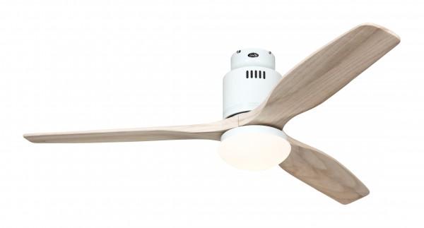 CasaFan Deckenventilator Aerodynamix Eco WE - Weiß - 3 Flügel Holz natur - mit Leuchte - mit Fernbedienung - energiesparend