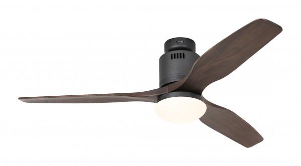 CasaFan Deckenventilator Aerodynamix Eco BG - Basaltgrau - 3 Flügel Nussbaum - mit Leuchte - mit Fernbedienung - energiesparend